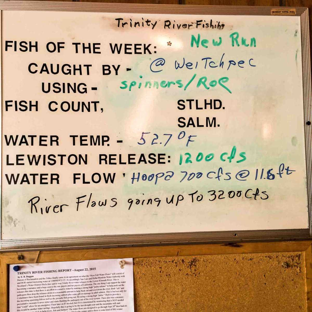 Fishing report posted in a Willow Creek, our stop off Hwy 299 along the Trinity River, northern California