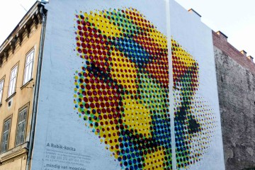 A mural recognizing Hungarian Ernö Rubik's contribution to design and puzzling.