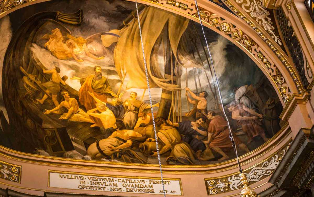 ceiling st paul shipwreck valletta malta