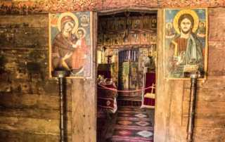 interior country wooden church village museum bucharest