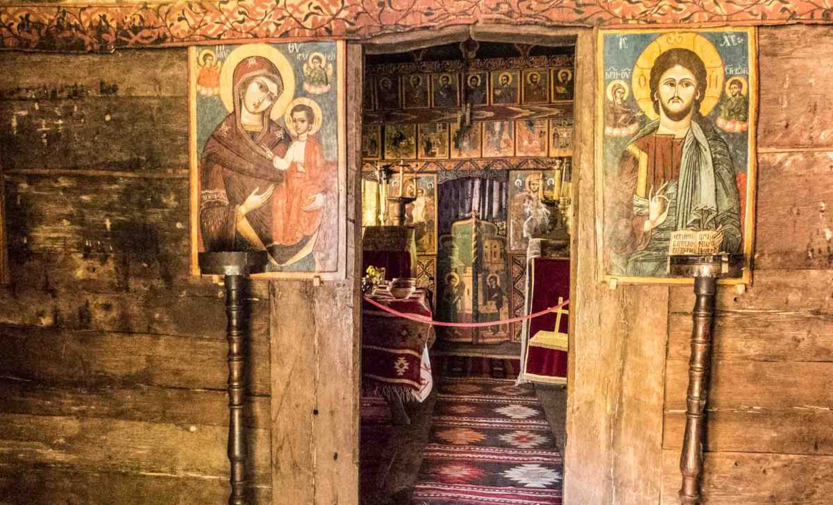 interior country wooden church village museum bucharest