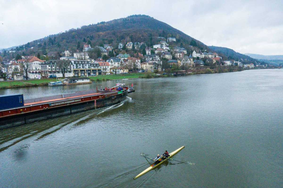 River traffic on the Neckar River in Heidelberg, Germany