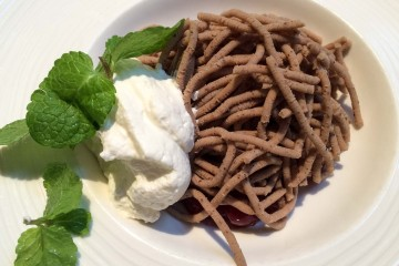What is this, you ask? Dense chestnut mousse, a national dessert dish popular during the holidays. Yum.
