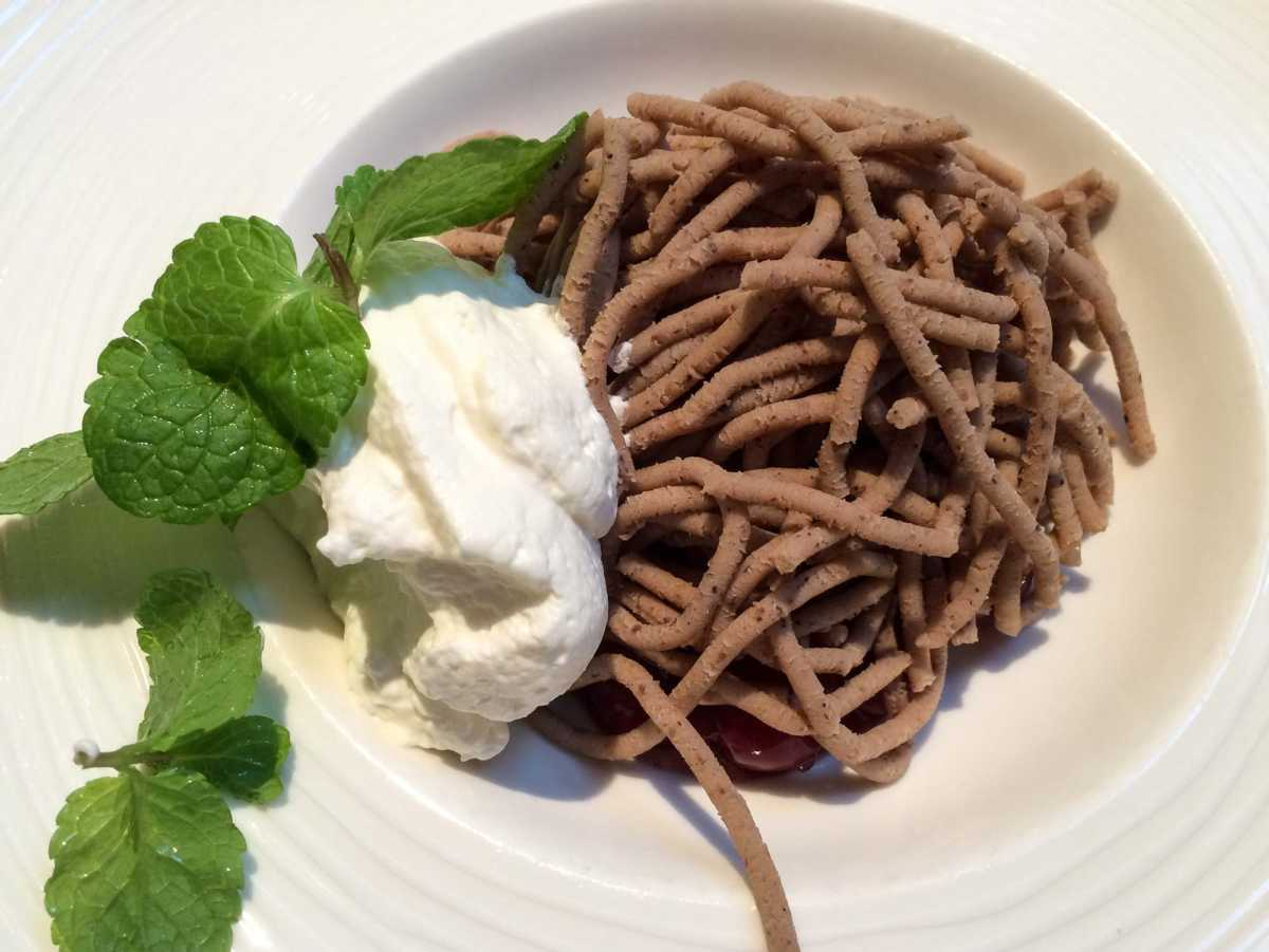 What is this, you ask? Dense chestnut mousse, a national dish popular during the holidays. Yum.