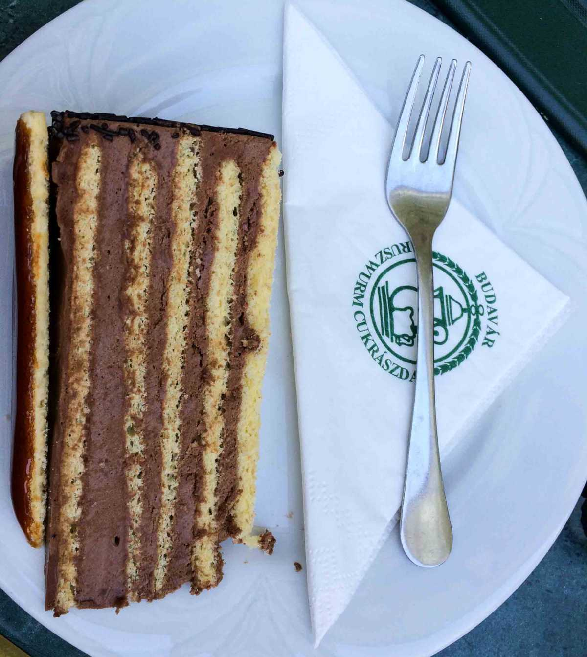 The classic Dobos Cake from Ruszurm Cafe