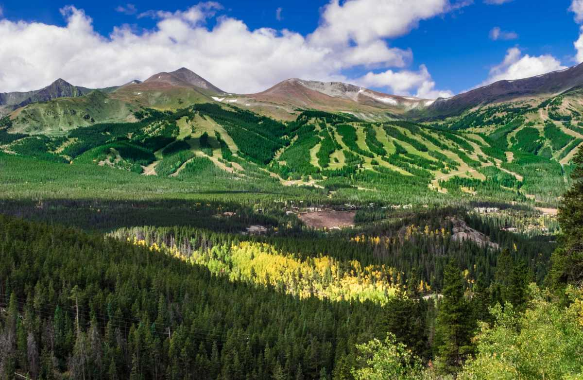 Fall colors and intimations of ski runs to come, shot from Boreas Pass Road, Breckenridge