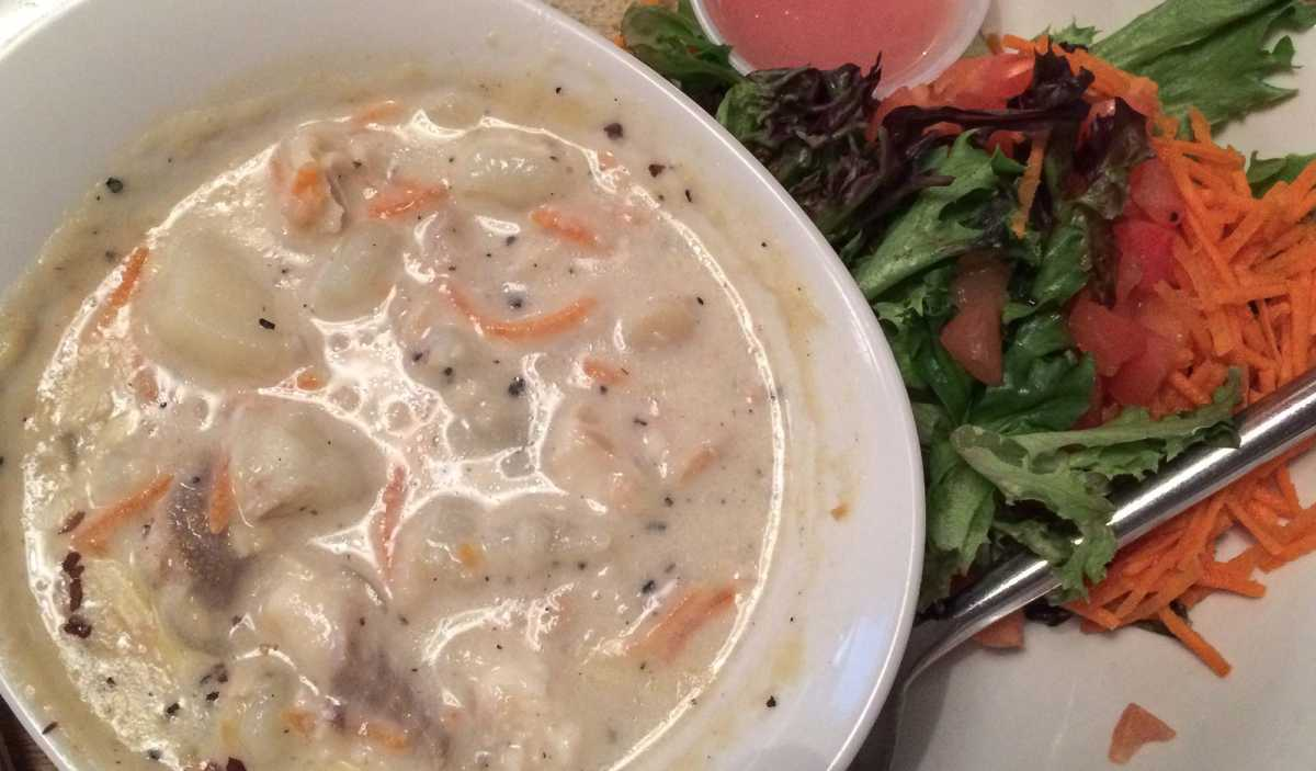 Seafood chowder from Isaac's Way, Fredericton, NB. This version is seasoned with the salty, deep-red Dulse, a sea vegetable hand harvested and dried, and sometimes eaten like potato chips.