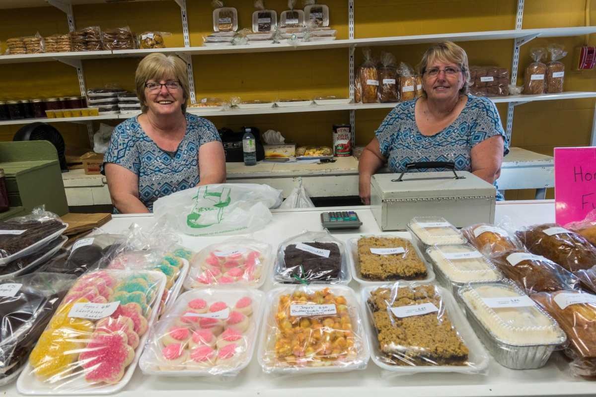 Baked goods at Fredericton's Farmers Market. These sisters didn't mean to show up wearing similar clothes.