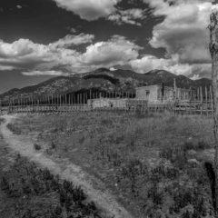taos pueblo stockade new mexico bw