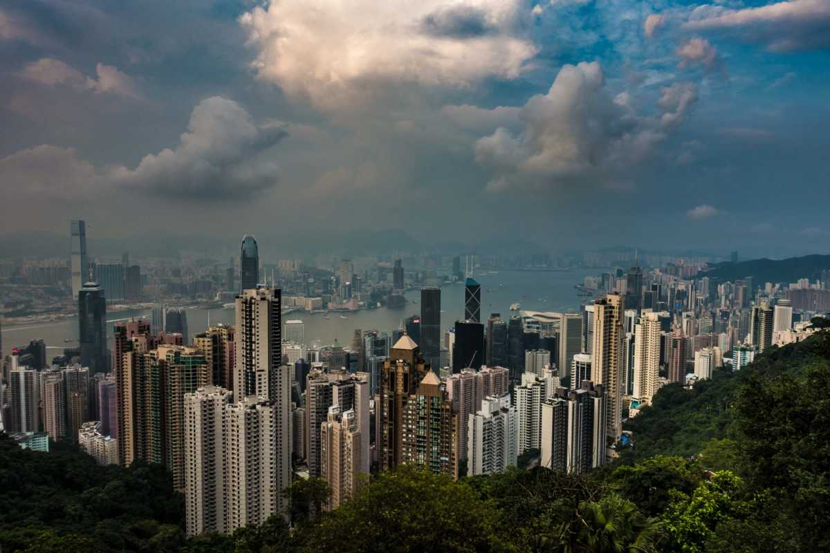 Hong Kong day skyline view from peak 3