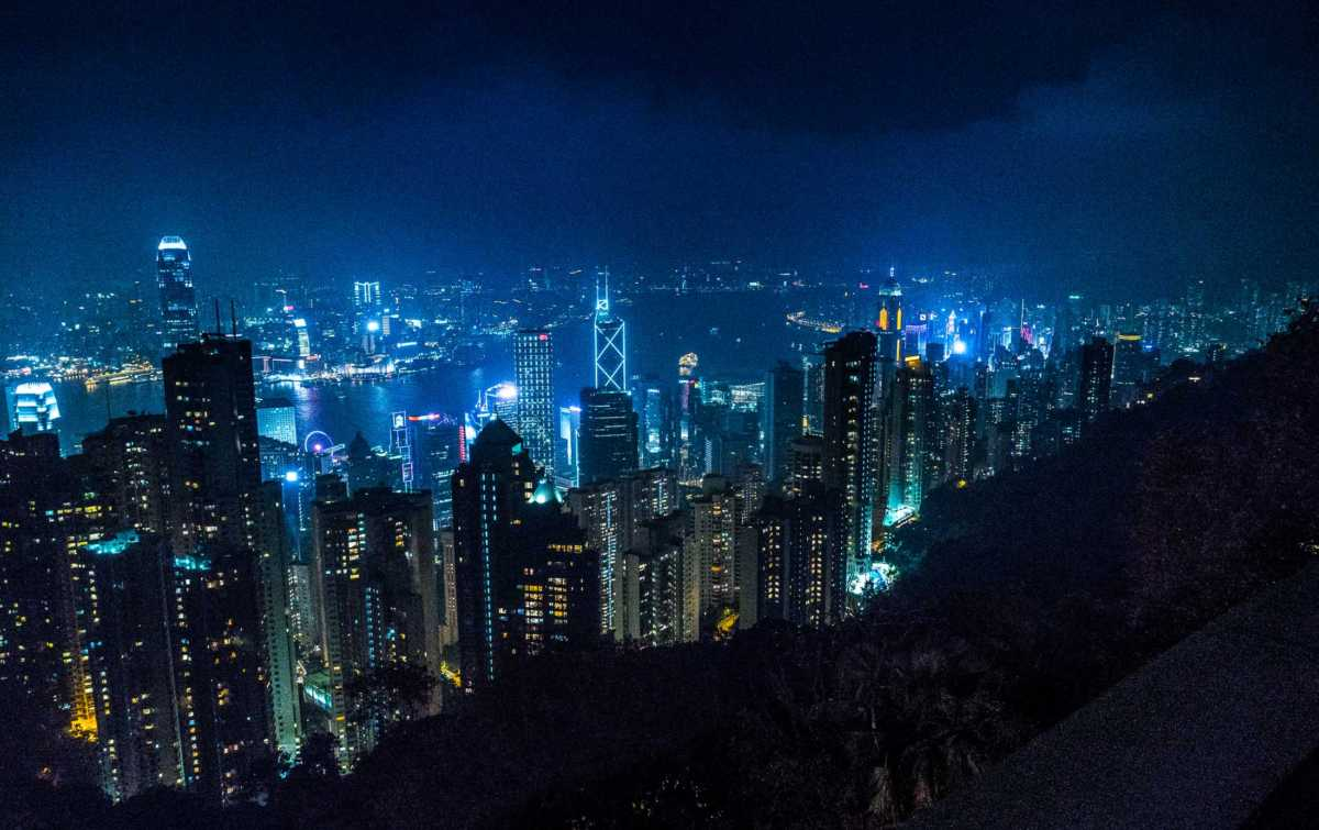 Hong Kong night skyline from peak