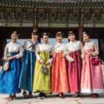 Young Women in Traditional Dress, Gyeongbokgung Palace, Seoul, Korea