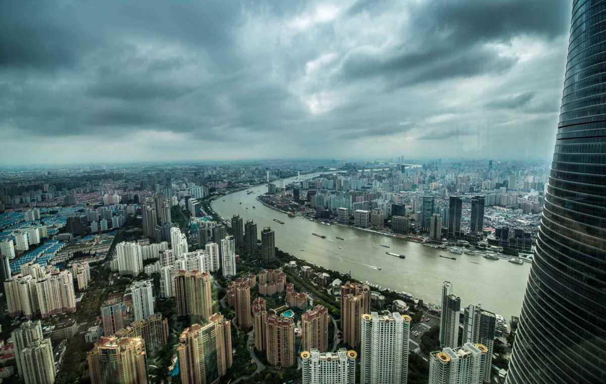 shanghai skyine financial district river