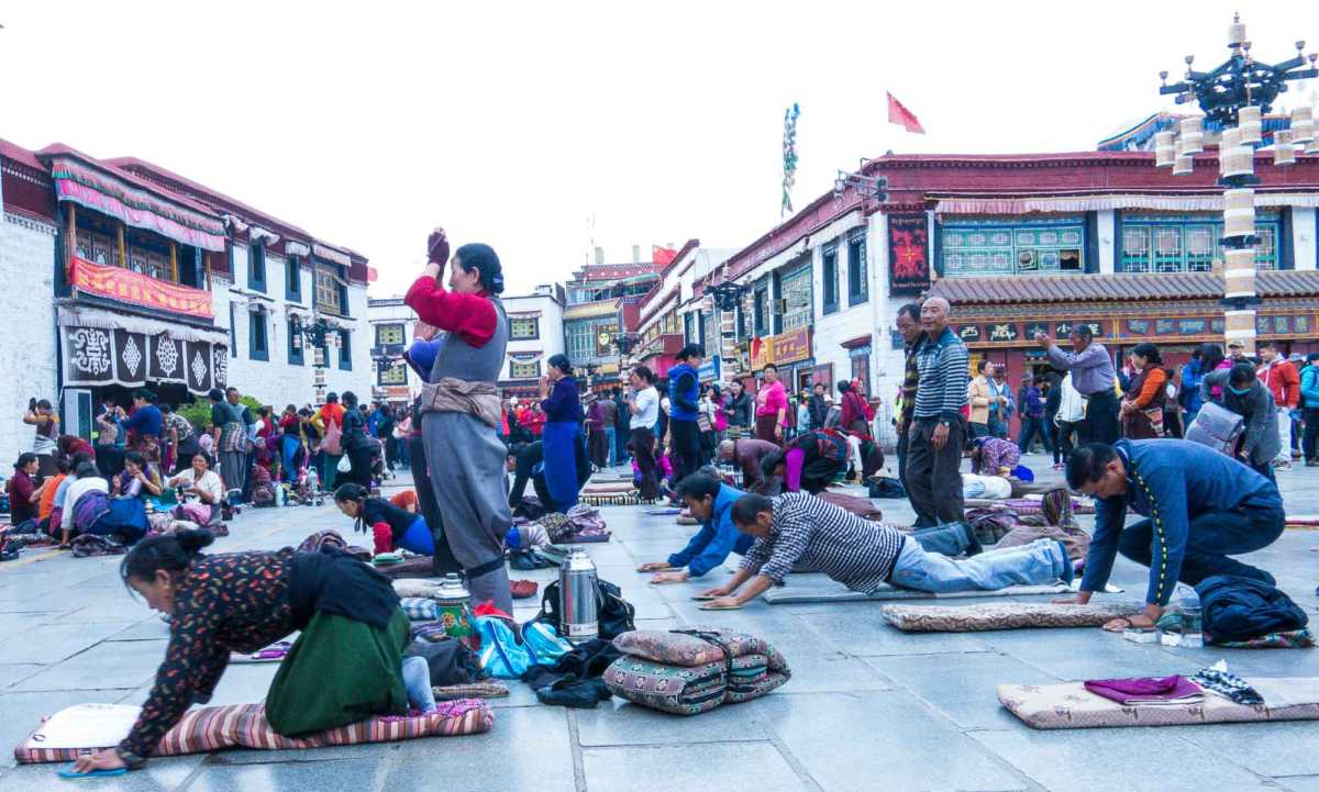 Approaching Jokhang Temple, the spiritual center of Tibet in Lhasa
