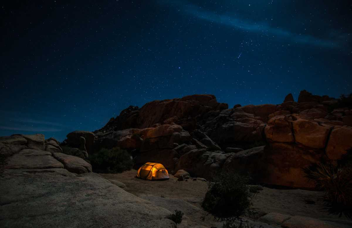 tent night joshua tree national park 2