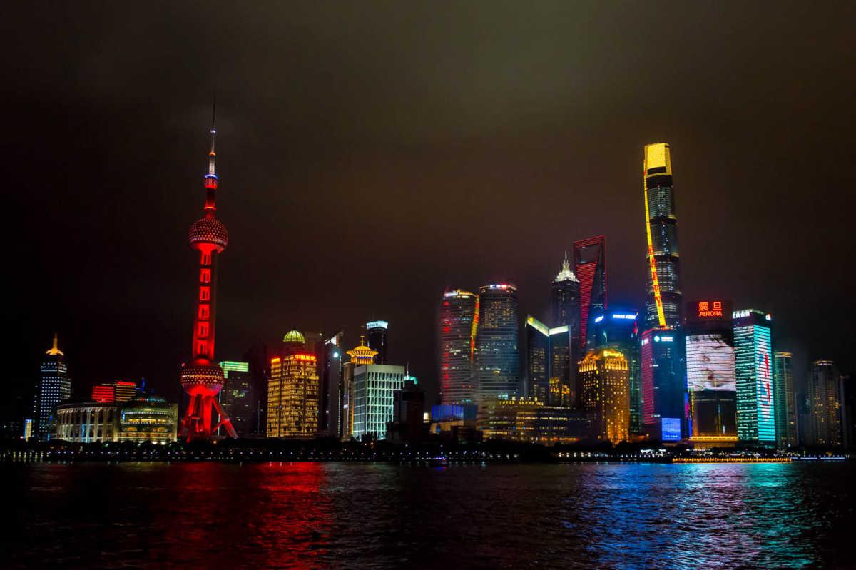 financial district skyline shanghai china