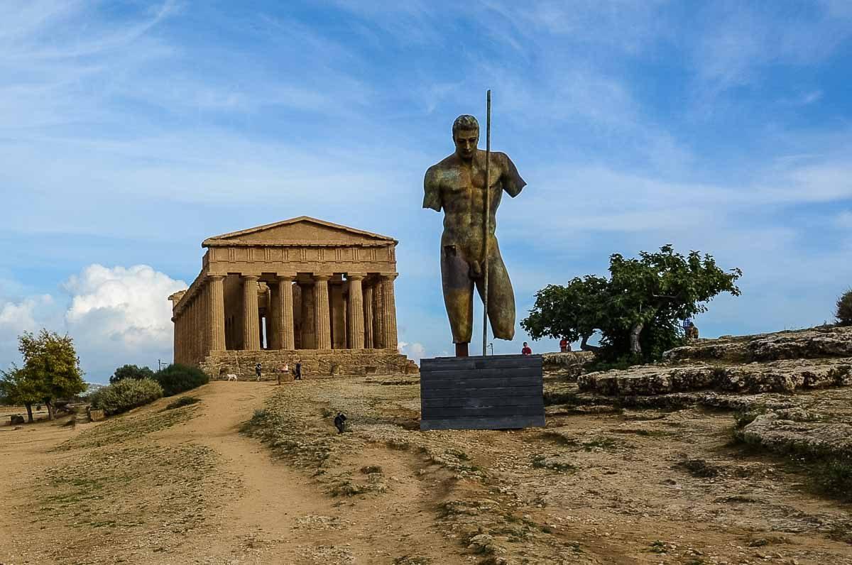 Italy Sicily Agrigento Valley of the temples concordia statue Igor Mitoraj