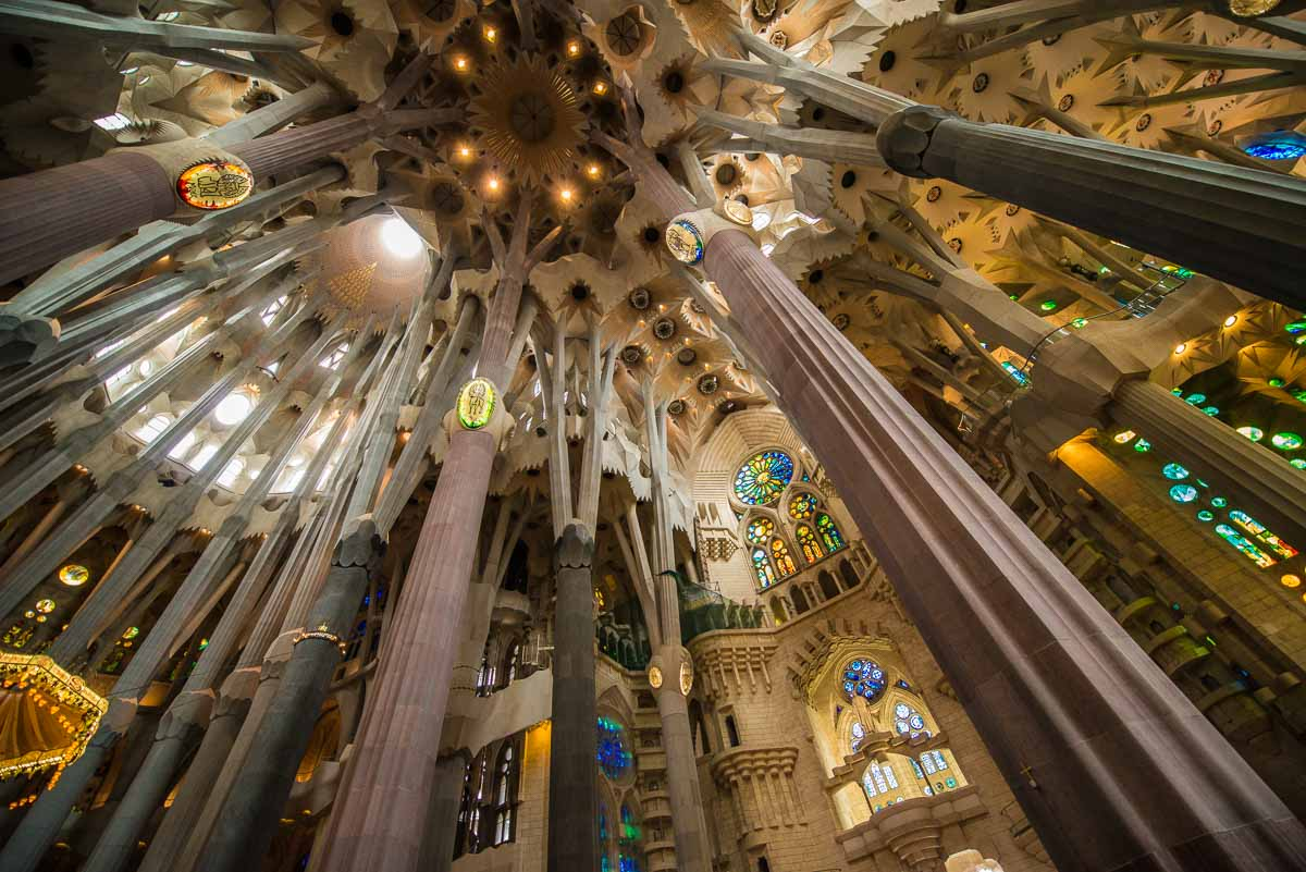 Spain Barcelona Sagrada Familia ceiling Unesco World Heritage site Spain