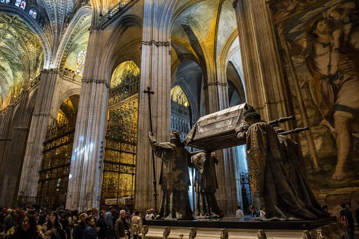 Spain sevilla cathedral tomb of Columbus wonders of spain