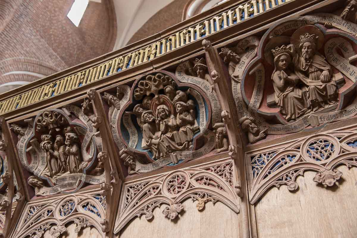Denmark Roskilde cathedral choir carvings