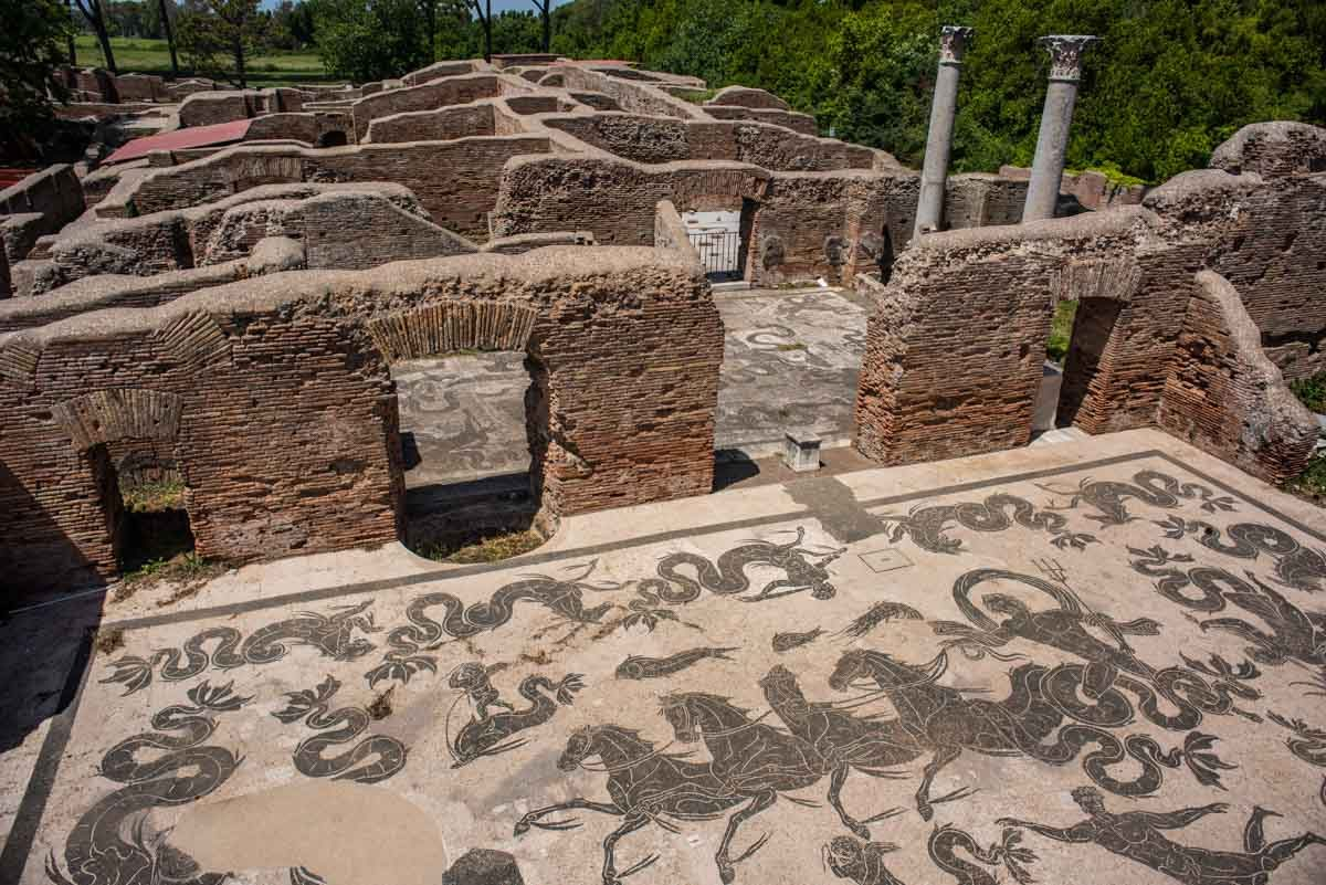 Italy ostia antica mosaic baths of neptune
