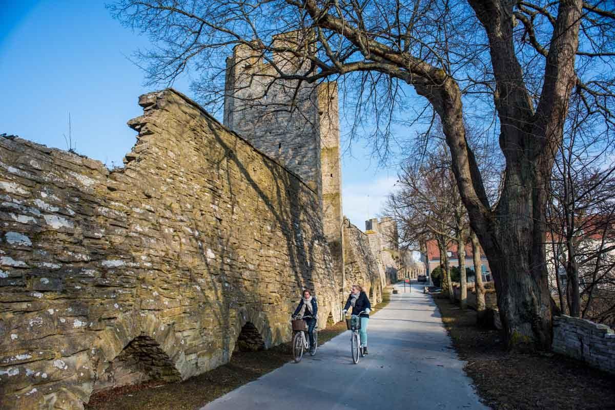sweden visby bikers city walls