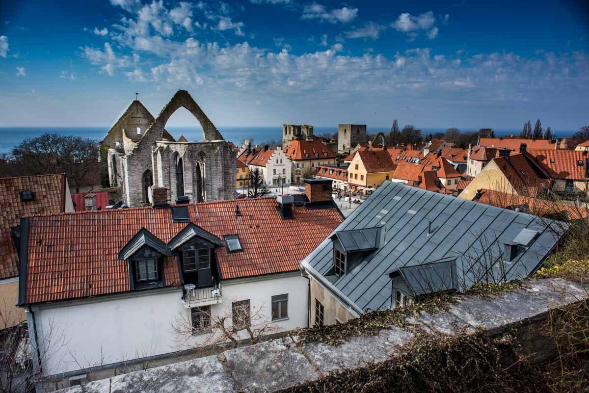 sweden visby rooftops st karin ruins