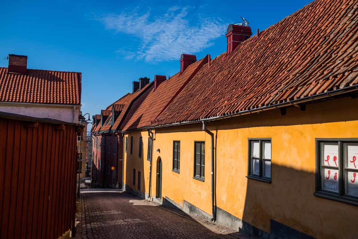 sweden visby street yellow building