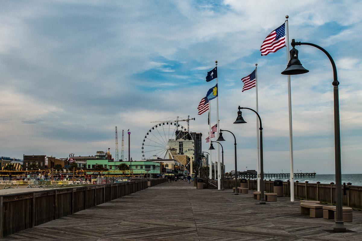 USA South Carolina Myrtle Beach boardwalk flags