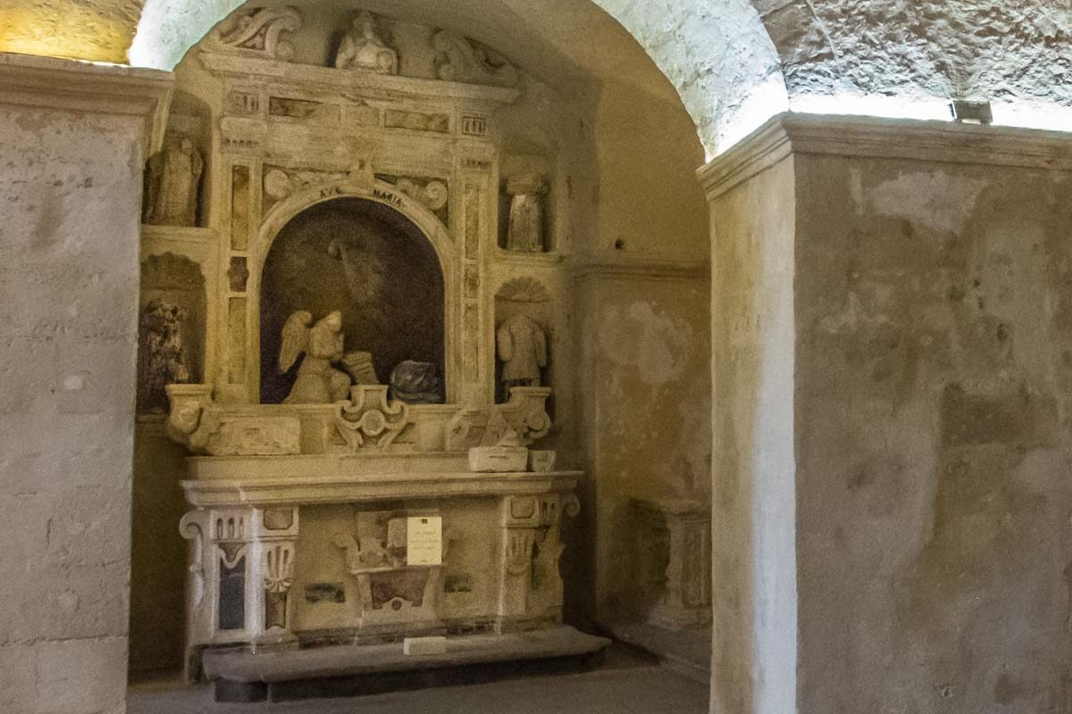 Italy Basilicata Matera san pietro barisano cave church altar annunciation