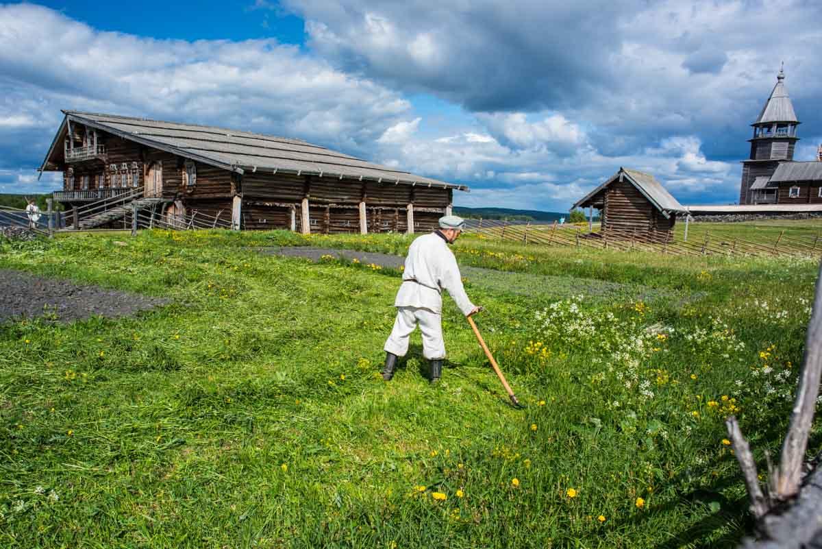 Russia kizhi island museum scythe man