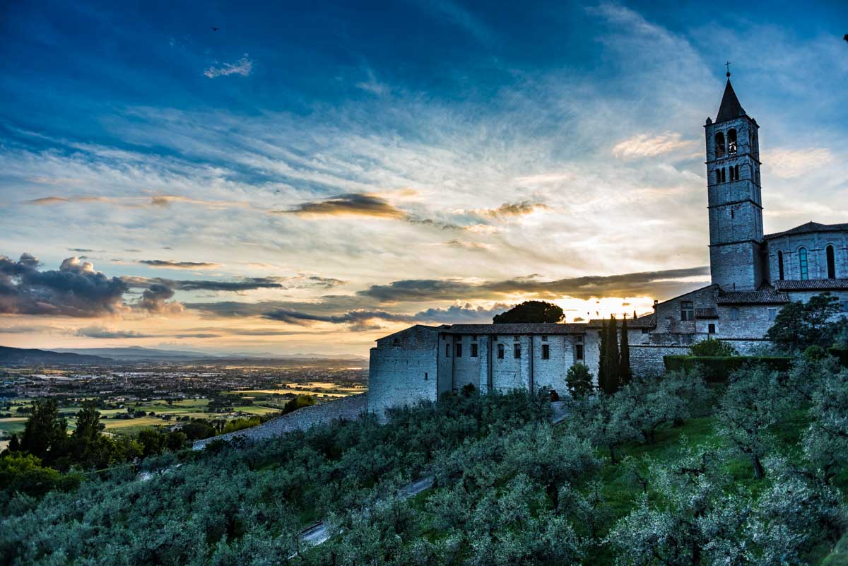 italy assisi santa chiara at sunset