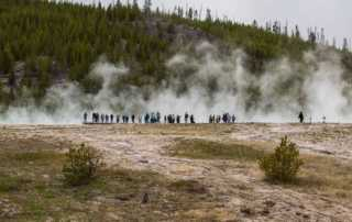tourists prismatic springs yellowstone