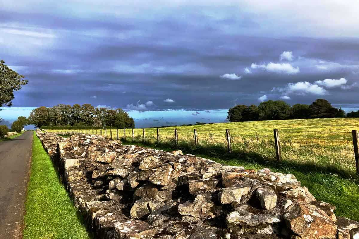 cycling england hadrians wall roadside