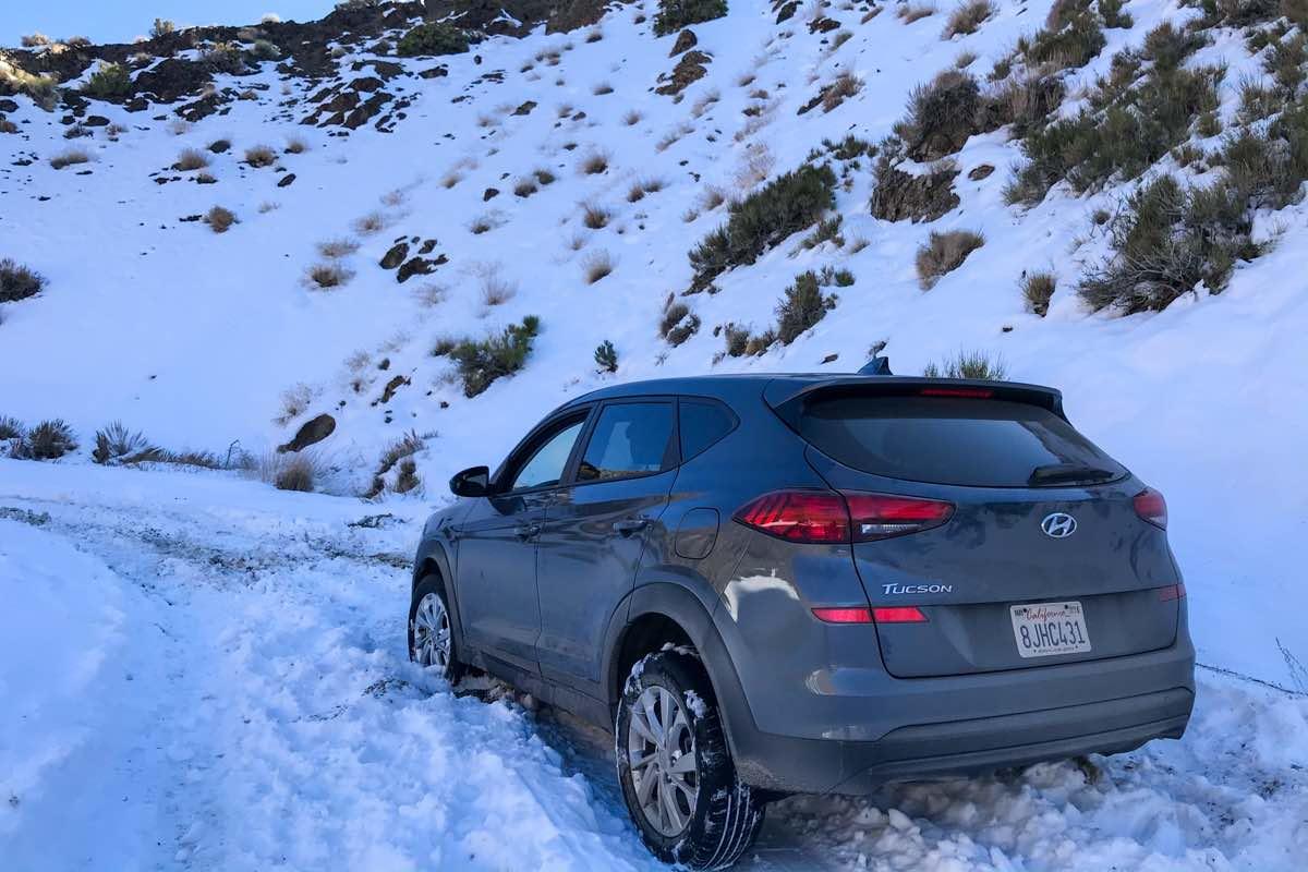 stuck car in snow